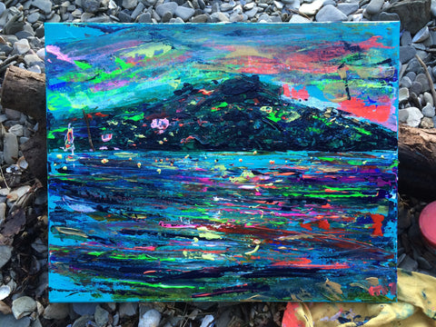 Chloe Gallery, Chloe Art, Chloe Gallery UK, Chloe Tinsley, Helford River, Cornish art, collectors piece, best of British, love Cornwall, wild artist, wild art, small canvas, blue painting, phosphorescence, night painting, British art, dynamic art, vivid art, emotive art, Helford art, Helford passage walks, Helford passage, Helford Village, the new colourists, colourful artists, British Plein air artists, cornish art, cornish art galleries, online cornish art, cornish paintings, cornwall paintings,
