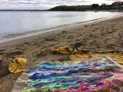 gyllyngvase beach, colourful art, chloe art, plein air cornwall, rewilding, swimmers, en plein air, female painters, expressionism, blue painting, whats on Falmouth, Chloe artist, fauvism, en plein air, inspiring art cornwall, inspiring art, landscape painting, contemporary art, Colourful art, gylly beach, types of art, gylly beach