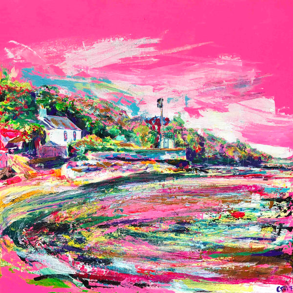 Pink Canvas, Pink Wall Art, Chloe Artist, Chloe Gallery, Inspiring Art, 'Hot Pink Days at the Cornish Idyll', Pink, Chloë Tinsley, Chloe Art, plein air cornwall, colourist, rewilding, rewilding europe, female painter, female artist painter