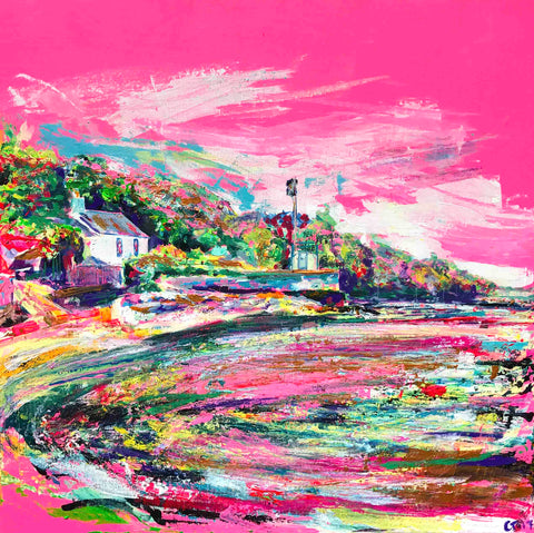 Pink Canvas, Pink Wall Art, Chloe Artist, Chloe Gallery, Inspiring Art, 'Hot Pink Days at the Cornish Idyll', Pink, Chloë Tinsley, Chloe Art, plein air cornwall, colourist, rewilding, rewilding europe, female painter, female artist painter, Cornish Art, Cornish Artists, canvas art prints, canvas art, modern wall art