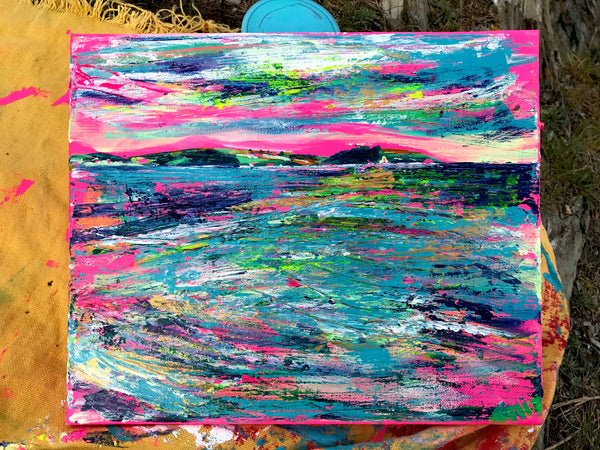 Art by Chloë Tinsley, artwork by Chloe, Landscape Painting Cornwall, Landscape Art, Inspiring Art, Painting Outside, En Plein Air, Pink Painting, Roseland, pink canvas, pink wall art, chloe art, chloe tinsley, chloe gallery, chloe gallery uk, small painting, falmouth bay, love art, love paintings