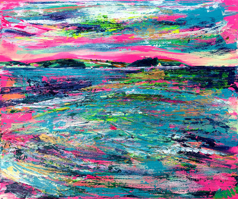 Landscape art by Chloe Tinsley, artwork, inspiring art, pink painting, en plein air, Cornish Art, Landscape Art