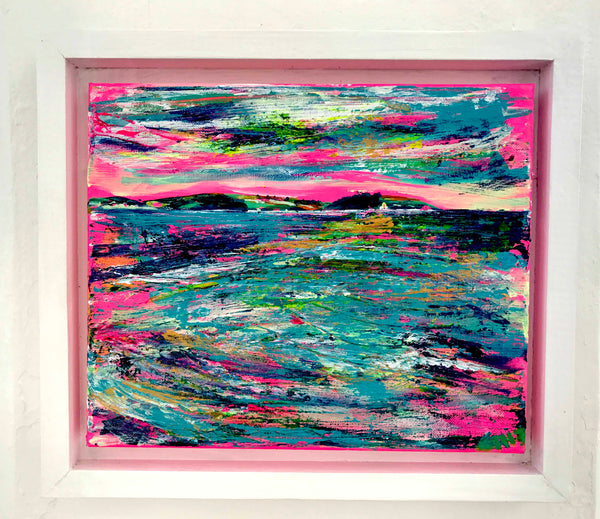 St Anthonys Lighthouse, Cornwall, Artwork by Chloë Tinsley, art by Chloë, Landscape Art, Coastal Art, Landscape Painting, Painting Outside, Roseland Peninsula, Pink Painting, pink canvas, pink wall art, Falmouth Bay, Chloe Art, Chloe Tinsley, Chloe Gallery Uk