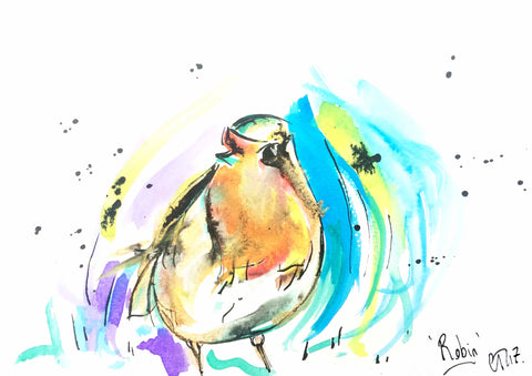 stylish Christmas Robin, Christmas Card by Chloë Tinsley, art