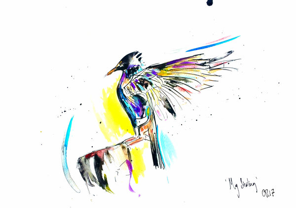 'My Starling' artwork by Chloë Tinsley, Inspiring Art Cornwall, Cornish Art, Drawings, Cards, Chloë Art