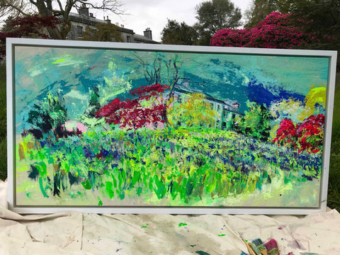 Enys House, Idyll painting in situ, Chloë Tinsley Art, Inspiring Art, Plein air artist, Enys Gardens, Enys Bluebells, En plein air, plein air cornwall, online art gallery, love art, love paintings, female painters, female artist painters, colourful art, colourist