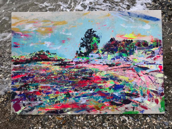 Helford art, Chloe Tinsley artist, chloegallery.co.uk, Ferryboat Inn, Helford Passage, Vivid Colour, Contemporary Art Cornwall, plein air artist, inspiring art, top female artist, Helford print