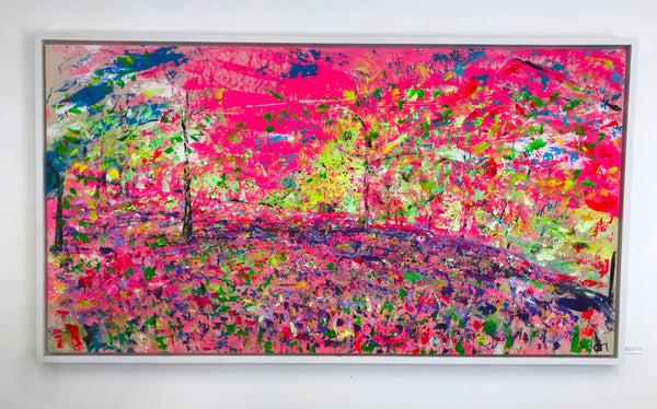 Chloe Tinsley, Chloe Gallery, Chloe Gallery UK, Cornish Art, Cornish Landscape Artists, Pink Paintings, Large Canvases, British Artist, Plein Air Painter, Art in Cornwall, Enys Gardens, Bluebells, Chloe Art, Wild Art, Rewilding Chloe, Top Contemporary Landscape Painters, Dynamic Art, Colourist, Love Art, Love Cornwall, Ennis House, Enys House and Gardens, Enys, Bluebell Woods, large canvas pictures