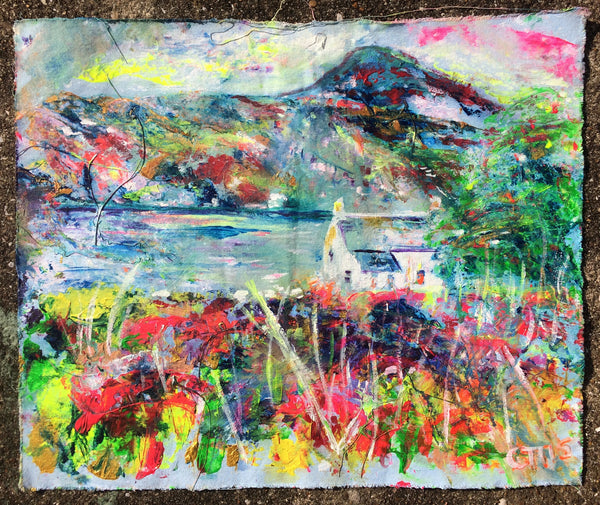 torridon, puffin rock, shieldaig, Torridon art, highland painting, chloe art, scottish colourist, weathered art, midge art, perfect house, idyll, dream home, rewilding humans, love paintings, love art, commission art, female painters, female artist painters, online art gallery, colourful art, joyful art, inspiring art, chloe tinsley, Chloë Tinsley, Chloe Tinsley Art, Chloe Tinsley Artist, walk to paint, en plein air, blue painting, pink painting, collect art