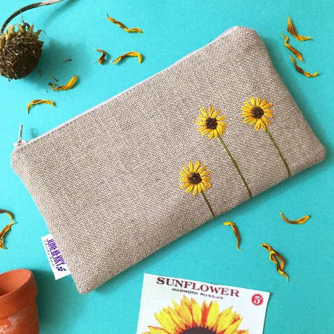 Hand Embroidered Sunflower Zipper Pouch