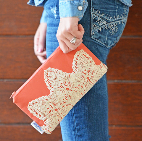 Vintage Lace Zipper Clutch