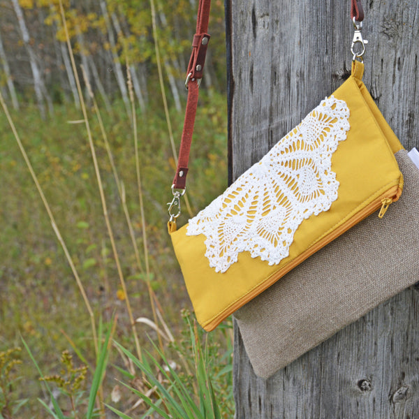 Fold Over Cross Body Bag with Vintage Lace