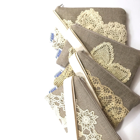 Bridesmaid Linen & Vintage Doily Wristlet Set