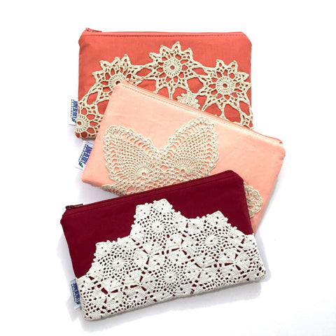 Bridesmaid Set Vintage Lace Zipper Clutch
