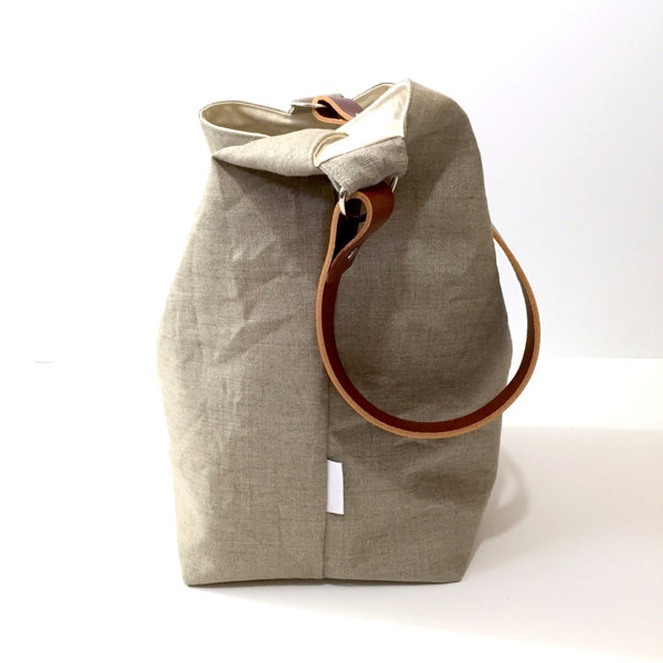 Large Natural Linen Hobo Bucket Bag