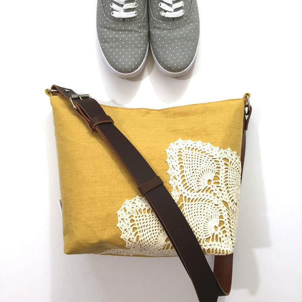 Linen Crossbody Bag with Vintage Lace in Mustard