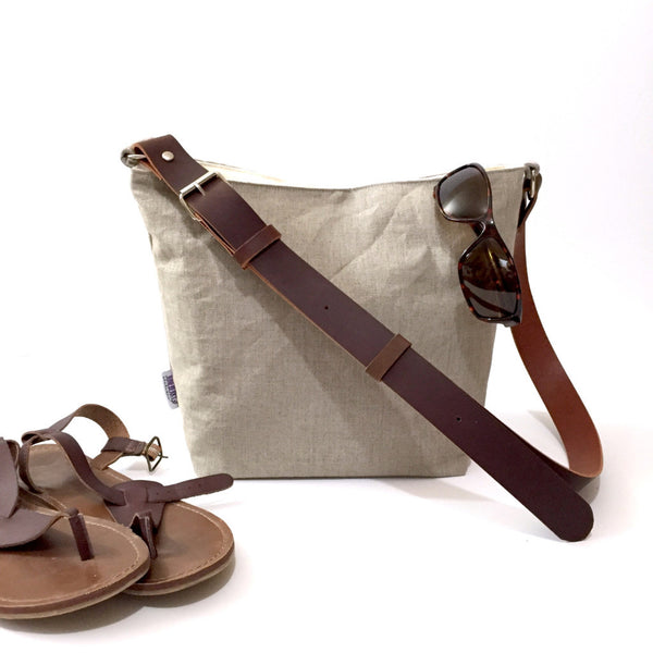 Small Natural Linen Hobo Bucket Bag