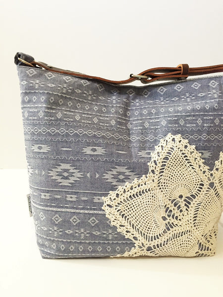 Chambray Denim Crossbody Bag with Vintage Lace