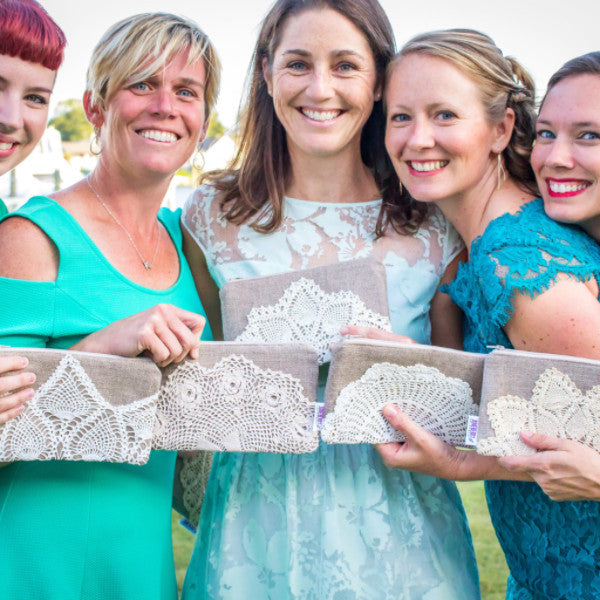 Bridesmaid Linen and Vintage Lace Clutch Set