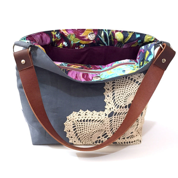 Linen Crossbody Bag with Vintage Lace in Grey