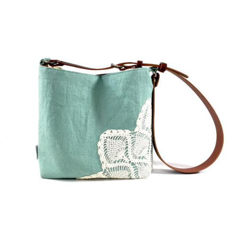 Linen Crossbody Bag with Vintage Lace in Seafoam