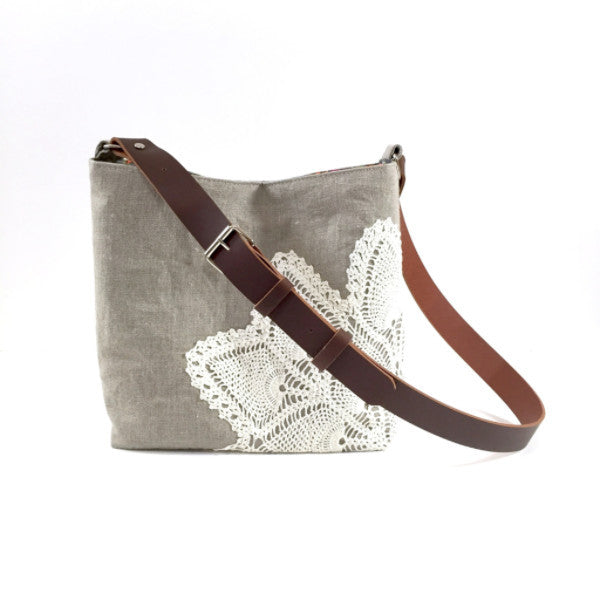 Linen Crossbody Bag with Vintage Lace in Natural