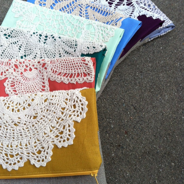 Vintage Doily and Linen Foldover Clutch