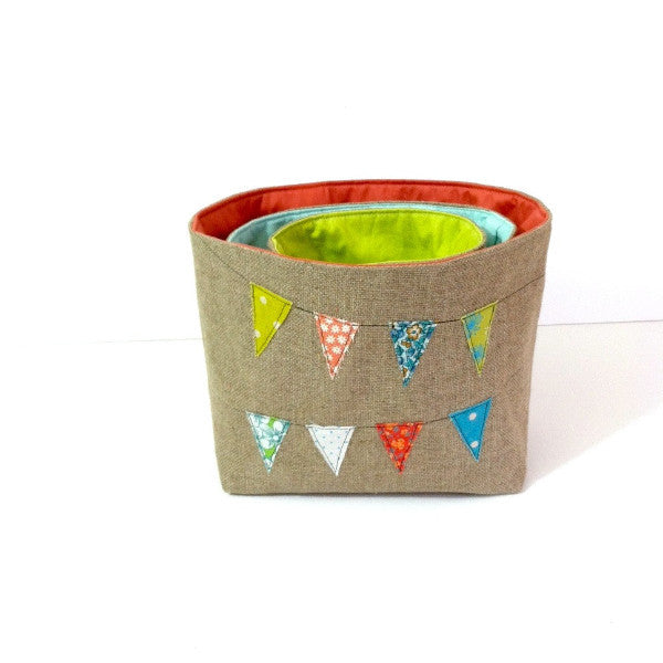 Linen Nesting Baskets with Fabric Bunting