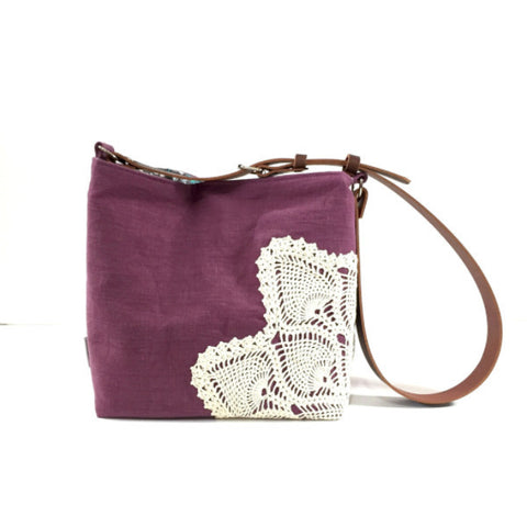 Linen Crossbody Bag with Vintage Lace in Plum