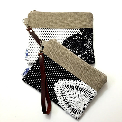 Black & White Polka Dot Vintage Doily Wristlet with Detachable Leather Strap