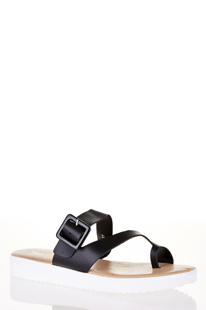 Black Toe Post Sandals-Black-UK 7 - EU 40