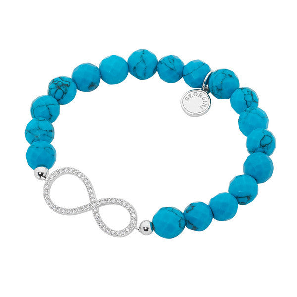 GEORGINI FACETED TURQUOISE CZ INFINITY STRETCH BRACELET