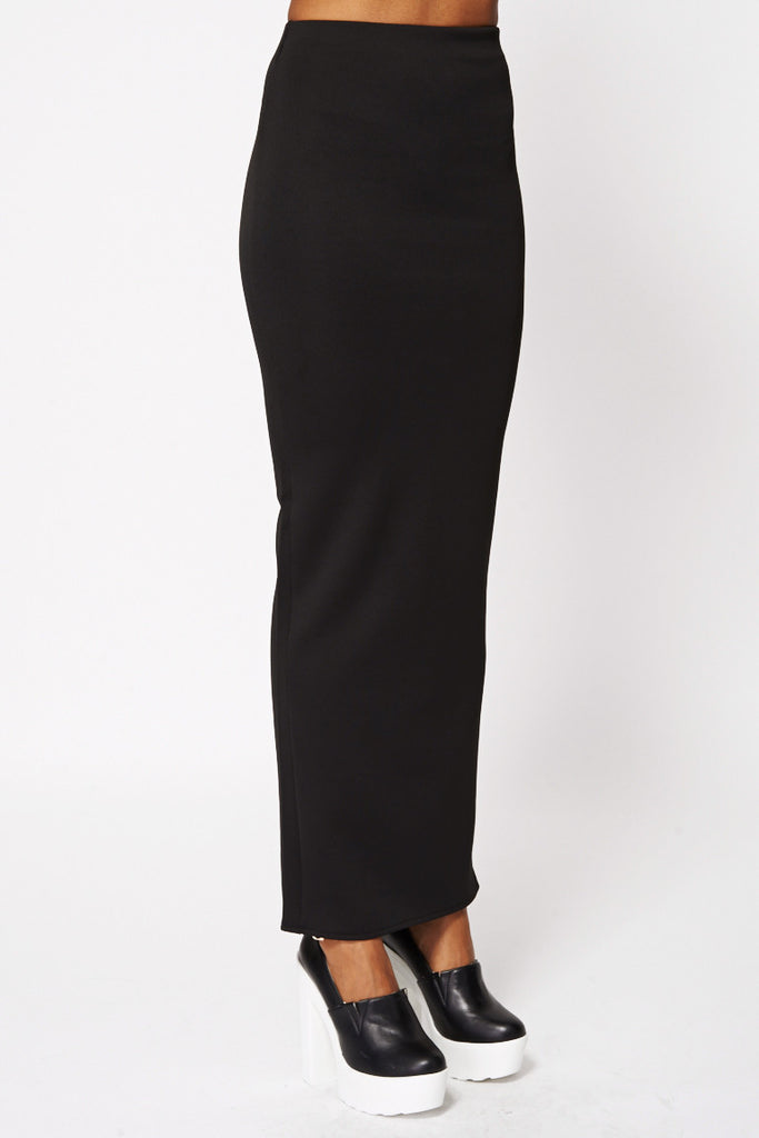 Black Scuba Maxi Skirt-Black-UK 18 - EU 46
