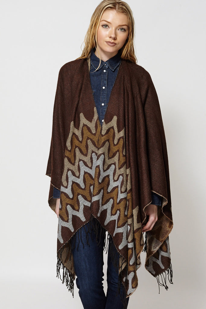 Abstract Print Fringed Open Poncho Cape-Brown-One Size