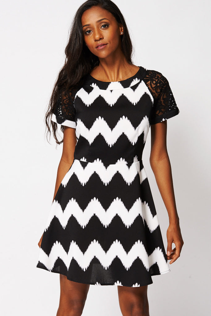 Black and White Skater Dress-Black / White-XSmall - UK (6-8)