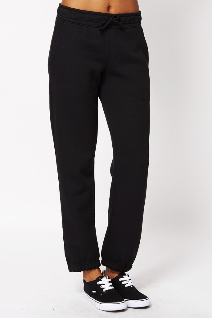 Black Soft Brushed Sweatpants -Black-UK 12 - EU 40