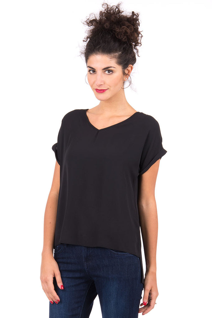 Black V-Neck Blouse AVAILABLE IN PLUS SIZES -Black-UK 8 - EU 36