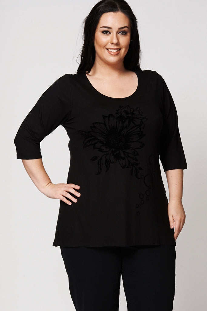 Black Sunflower Flock Print Dipped Hem Top-Black-UK 30/32 - EU 58/60