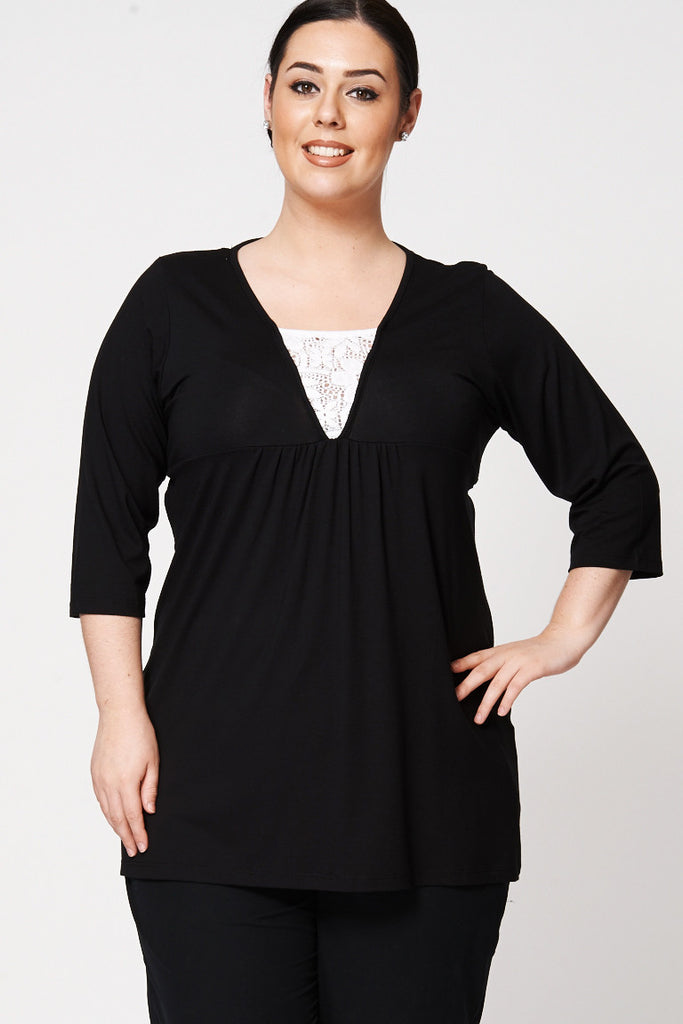 Black V-Neck Tunic with Crochet Underlay Detail-Black-UK 26/28 - EU 54/56