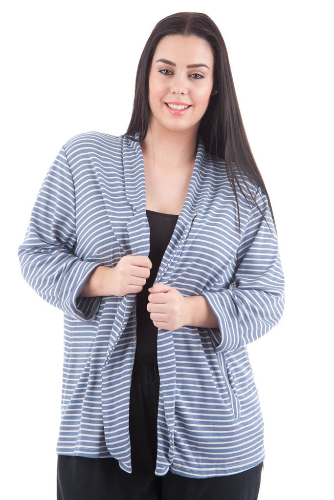 Blue And White Open Front Stripy Blazer PLUS SIZES AVAILABLE-Blue/White-UK 20 - EU 48