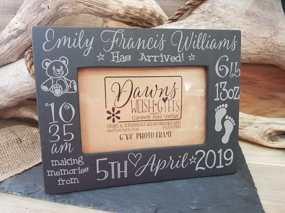 Personalised Slate New Baby Frame