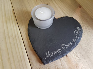 Slate heart tealight