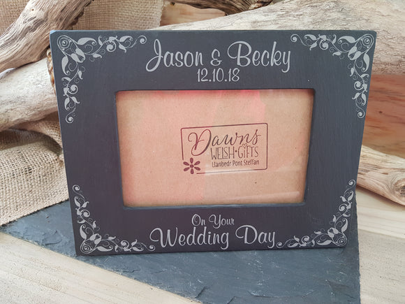Personalised Slate Wedding Frame