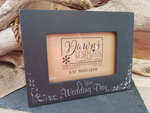 Slate Frame 'On Your Wedding Day'