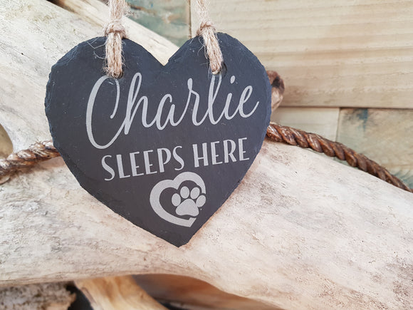 Personalised Pet Slate Heart