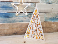 Wooden Christmas Tree Light Box