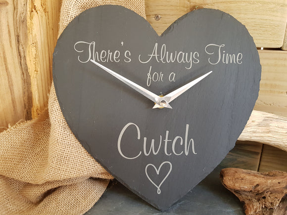 Cwtch Slate Heart Clock