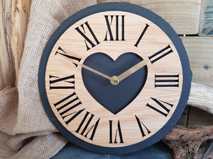 Heart Arabic Slate & Oak Clock