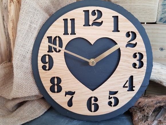 Heart Numbers Slate & Oak Clock