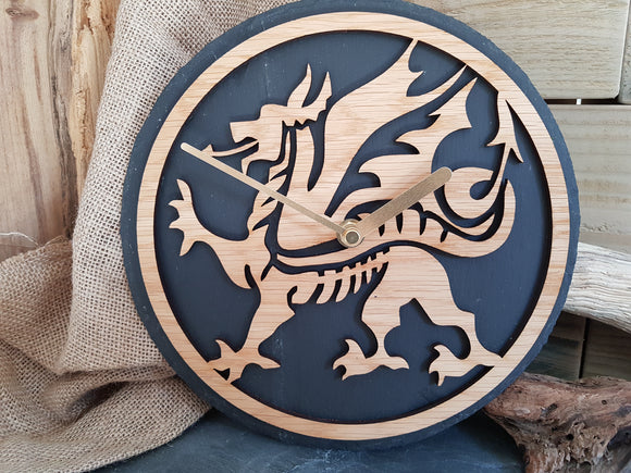 Welsh Dragon Slate & Oak Clock